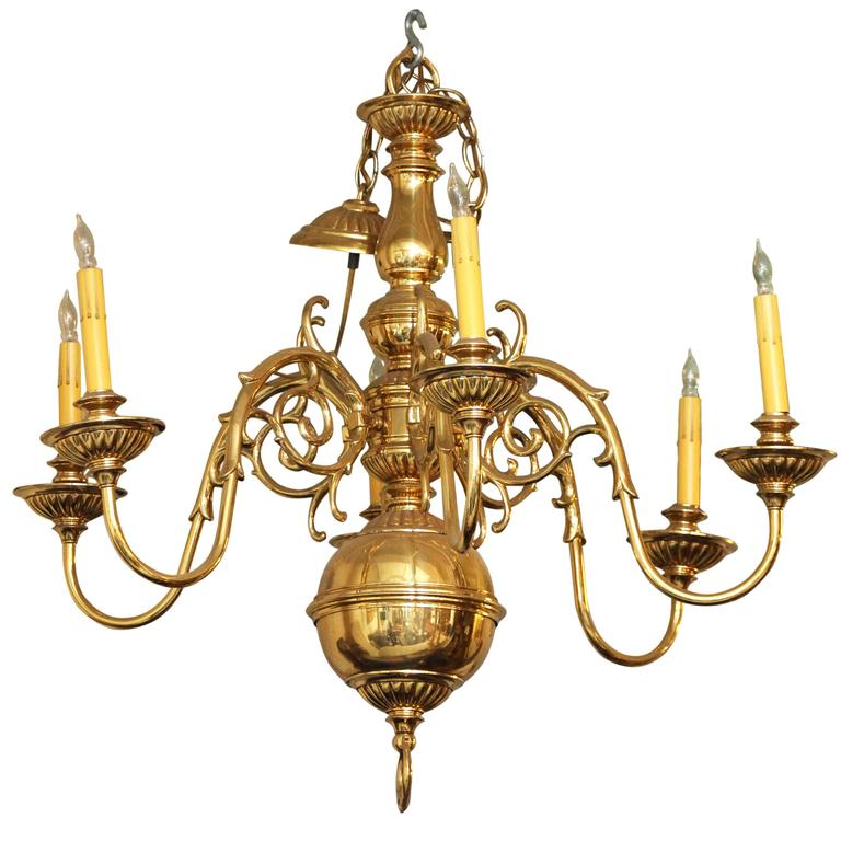 Polished Cast Brass Williamsburg Chandelier With Six