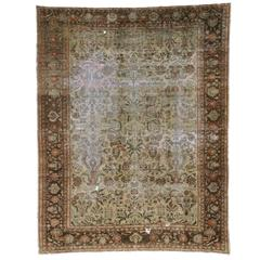 Distressed Antique Persian Lilihan Rug with Modern Industrial Style