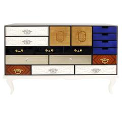 Boca Do Lobo Soho Silver, Lacquer, Mirror, Gold, Brass, Glass Lacquer Sideboard