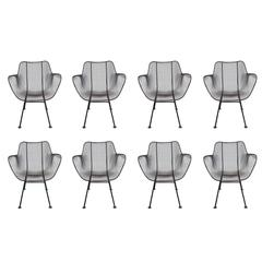 Set of Eight Sculptura Patio Chairs by Russell Woodard