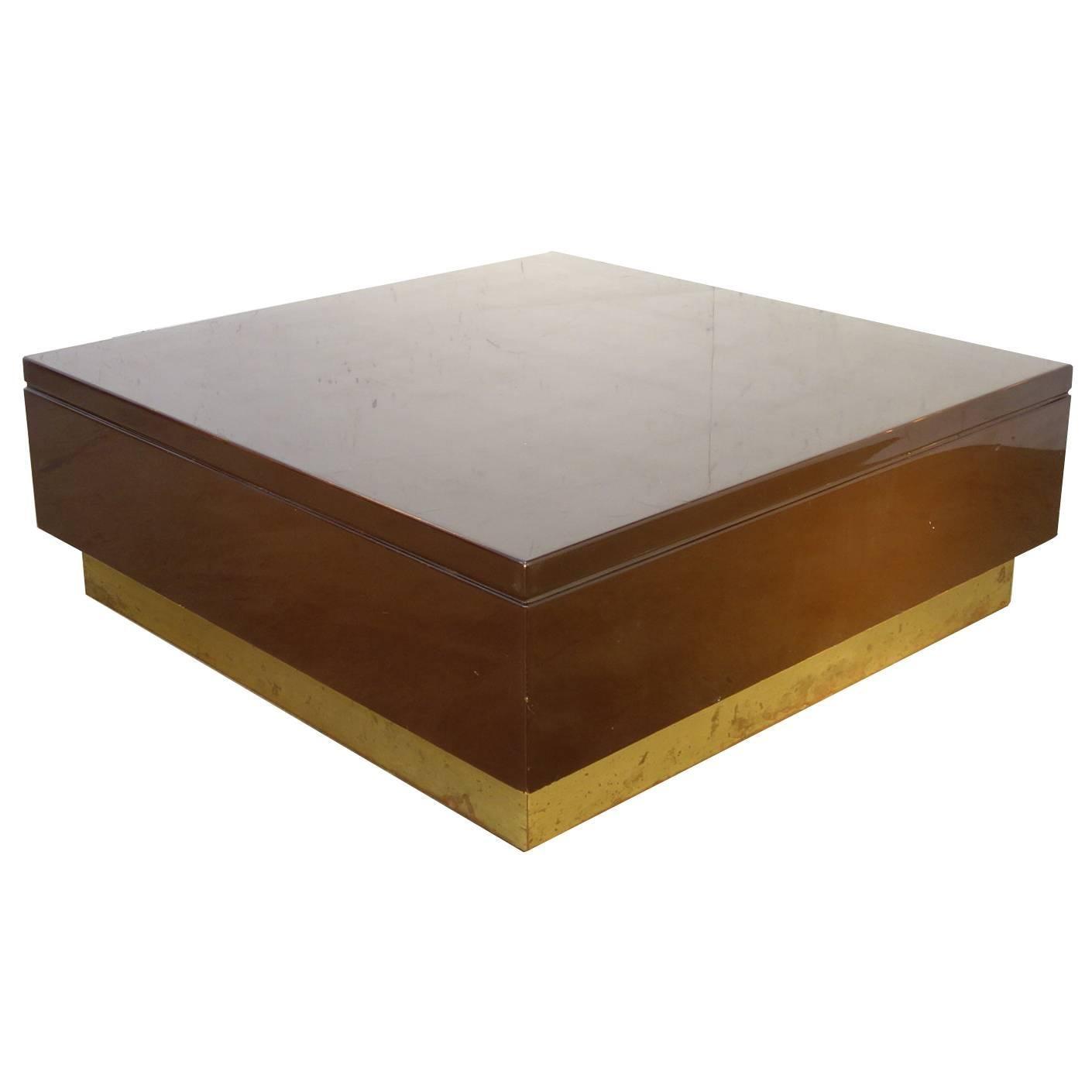 Italian Mid-Century 1970s Occasional Square Laquered Table