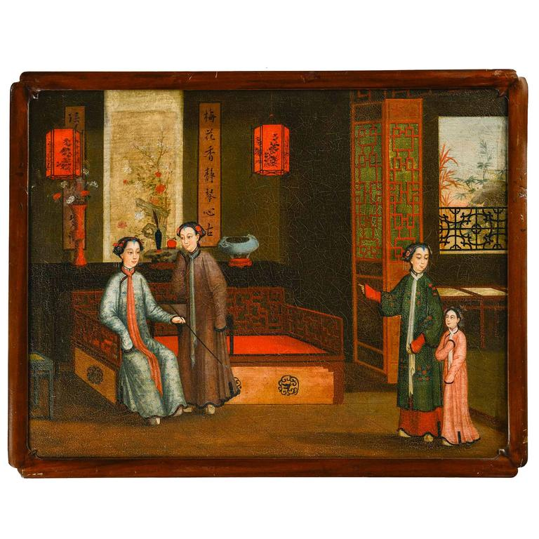 Rare Regency Period Oil on Board Painting For Sale