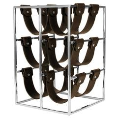 Winerack Six with Stainless Steel Structure and Dark Brown Leather