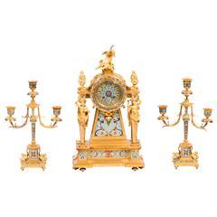 Fine Ormolu and Cloisonné Enamel Three-Piece Clock Set