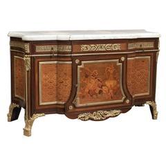 Feine und große Kommode Louis XVI Stil Messingbeschläge Goldbronze