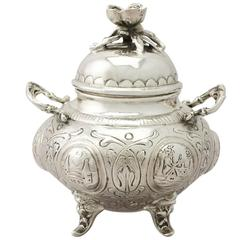 Dutch Sterling Silver Sugar Bowl and Cover, Antique Edwardian