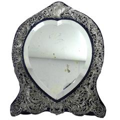Antique Sterling Silver Tabletop Vanity Mirror by William Comyns