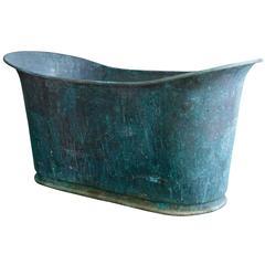 """Very Rare Antique Copper Bathtub """"Bain Bateau"""""""