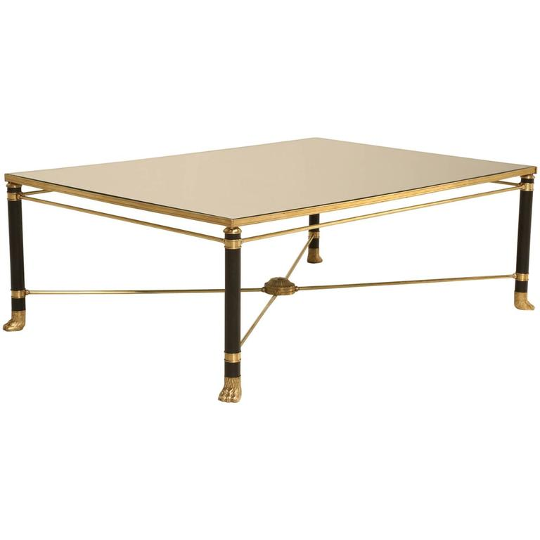 French Bronze Brass And Black Lacquer Coffee Table At 1stdibs