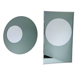 Pair of Modernism Mirrors Round and Rectangular Shape 3D Effect