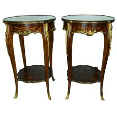 Wonderful Pair of Round Two-Tiered Marquetry Inlaid Side End Tables