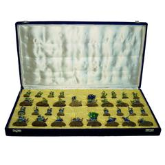 Fine and Complete Blue and Green Enamel Chess Set in Original Box