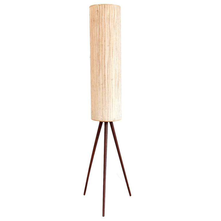 Iconic mid century modern floor lamp on teak tripod base for Iconic mid century modern furniture
