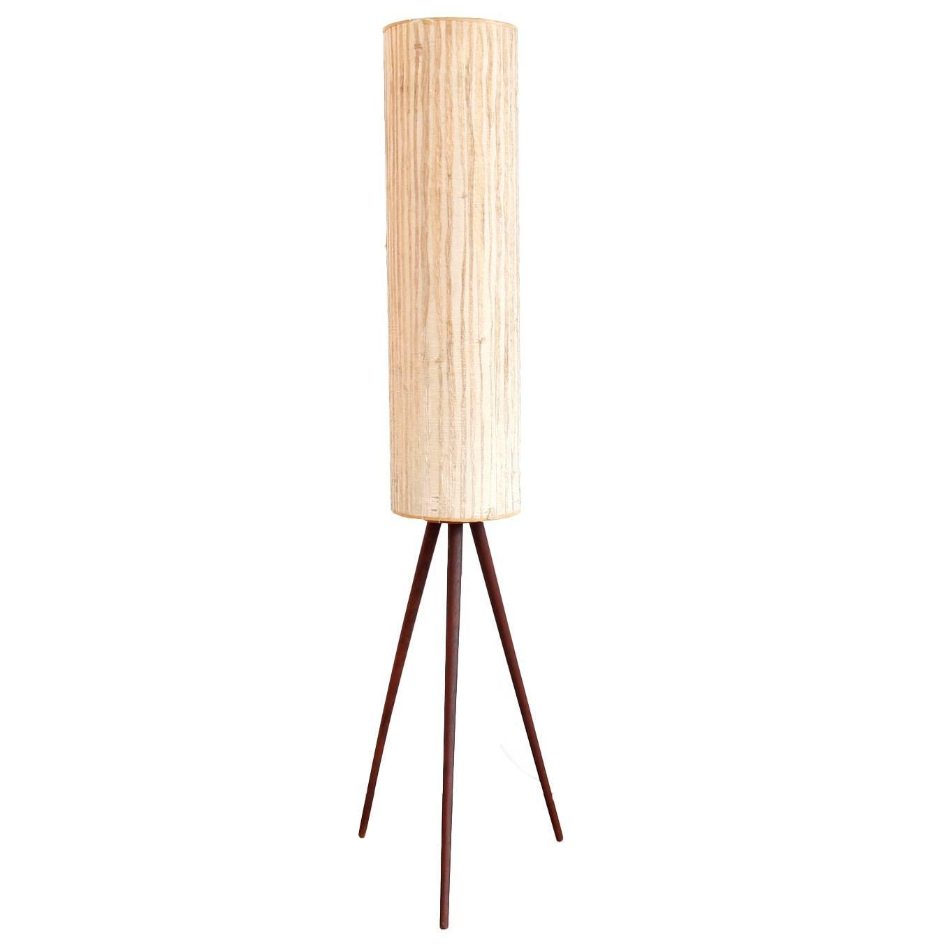Iconic mid century modern floor lamp on teak tripod base for Modern floor lamp on sale