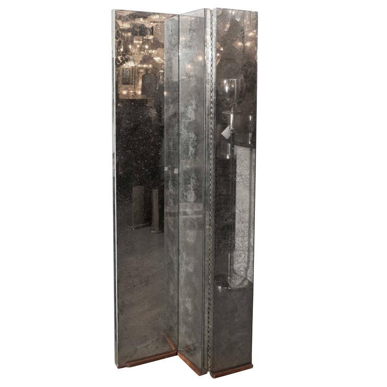 Gorgeous Mid-Century Antiqued Mirror Three-Panel Screen