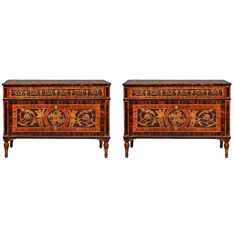 Pair of Italian 18th Century Louis XVI Style Walnut and Maple Wood Inlaid Chests