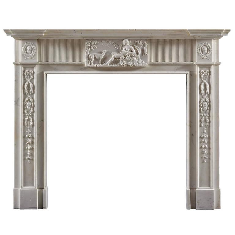 antique neoclassical fireplace mantel in statuary marble