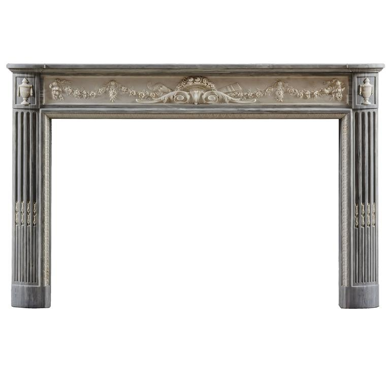Antique Louis XVI Style Fireplace Mantle in Blue Turquin For Sale