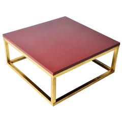 Red Lacquer and Brass Cube Low Tables in the Style of Kai Kristiansen