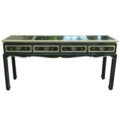 Mid-20th Century Laquered Green Chinoserie Sofa Table