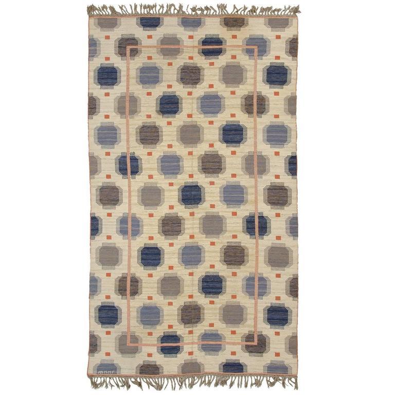 Mid-20th Century Swedish Flat-Weave Carpet by AB Marta Maas-Fjetterström