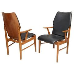 Pair of Danish Modern and Teak Armchairs