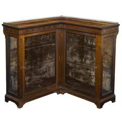 19th Century English Inlaid Corner Display Cabinet with Gallery