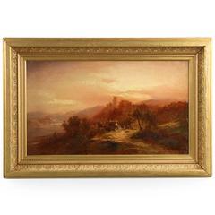 Barbizon School Landscape Painting of Path at Dusk, Probably Dutch, 19th Century