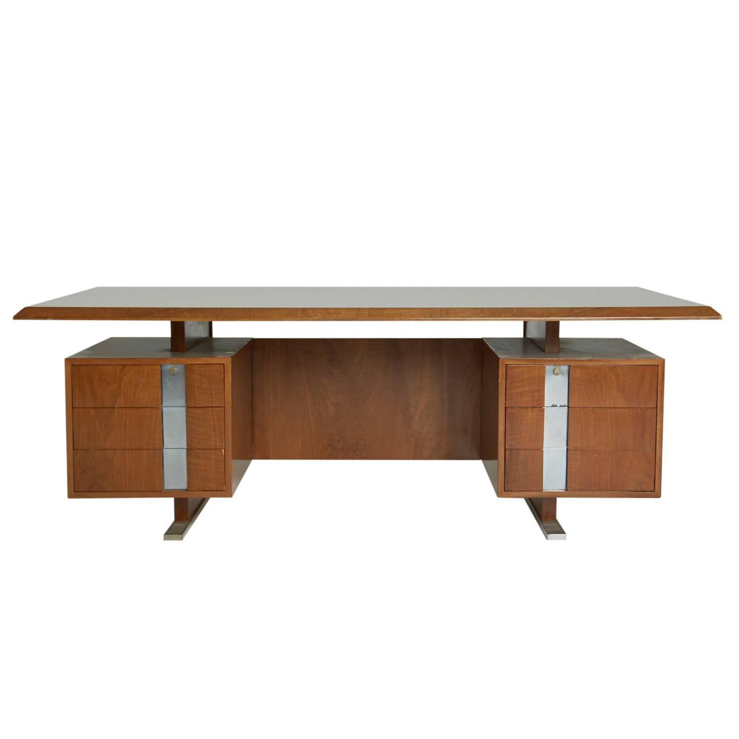 Large walnut chrome floating executive desk circa 1960 for Floating desk for sale