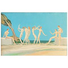 """""""Dance Beside the Sea,"""" Quintessential Art Deco Painting by Master Muralist"""