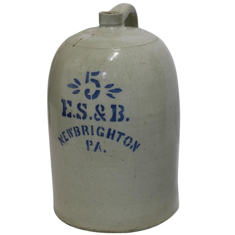 Large Early American #5 Pennsylvania Salt Glaze Jug Pottery
