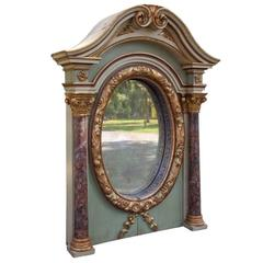 Italian Architectural Overmantel Mirror with Columns, Early 19th Century