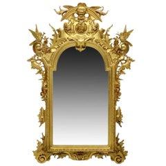 Italian Baroque Style Wall Mirror with Birds, 19th Century