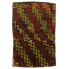 Vintage Turkish Tulu Accent Rug with Mid-Century Modern Tribal Style