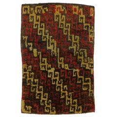 Vintage Anatolian Turkish Tulu Rug with Mid-Century Modern Style