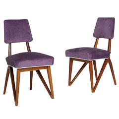 Pair of Purple Mahogany Side Chairs in the Style of Vladimir Kagan