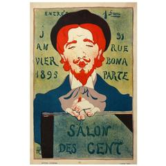 Original French Antique Poster by Hermann-Paul for the 1895 Salon des Cent