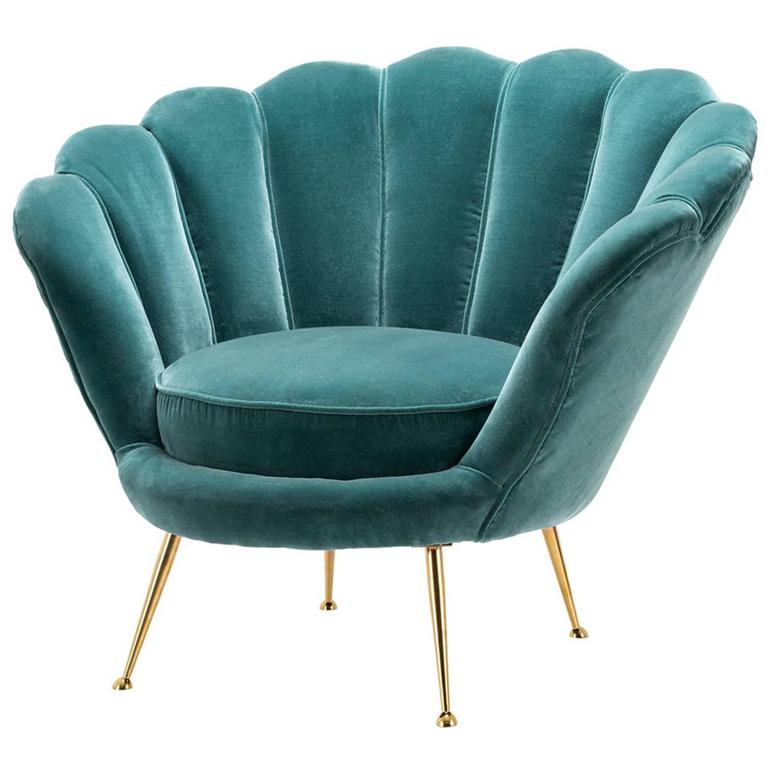 shell armchair with cameron deep turquoise velvet at 1stdibs. Black Bedroom Furniture Sets. Home Design Ideas