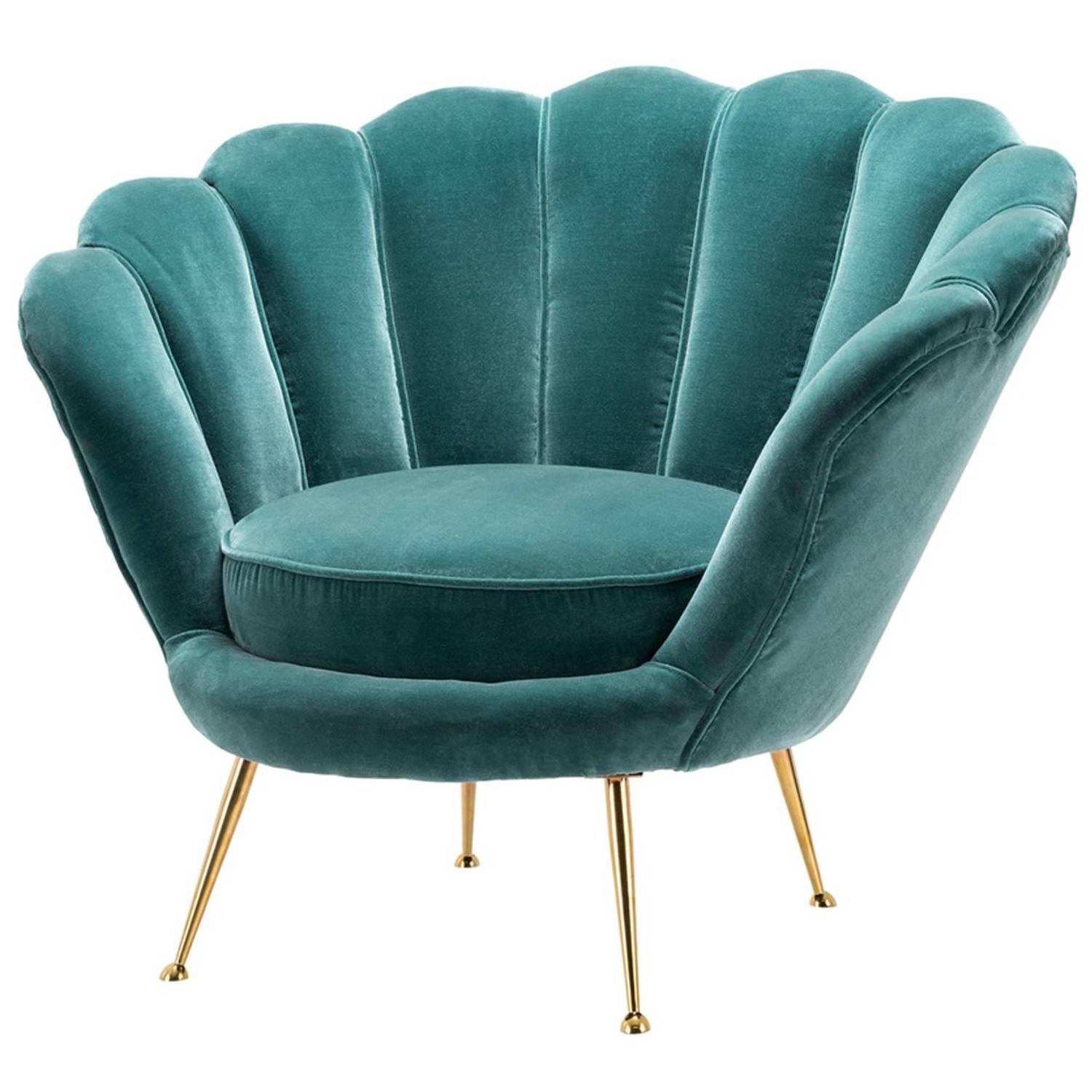 Shell Armchair with Cameron Deep Turquoise Velvet at 1stdibs
