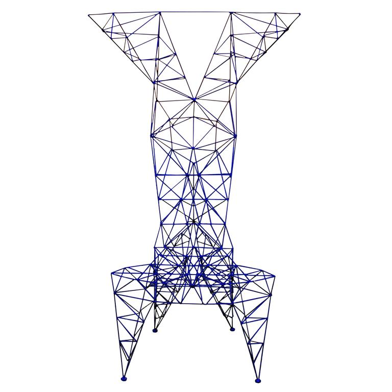 Tom Dixon's Pylon Chair; blue alluminium, made by Cappellini, 1992