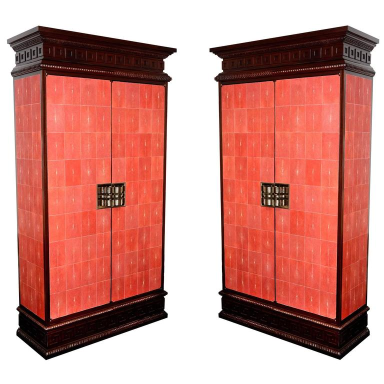 Cabinet Royal Set Of Two In Solid Mahogany And Red Genuine Sharkskin For Sale At 1stdibs