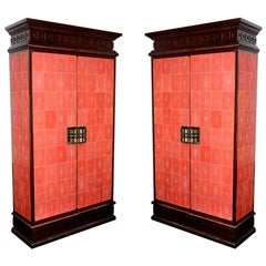 Cabinet Royal Set of Two in Solid Mahogany and Red Genuine Sharkskin
