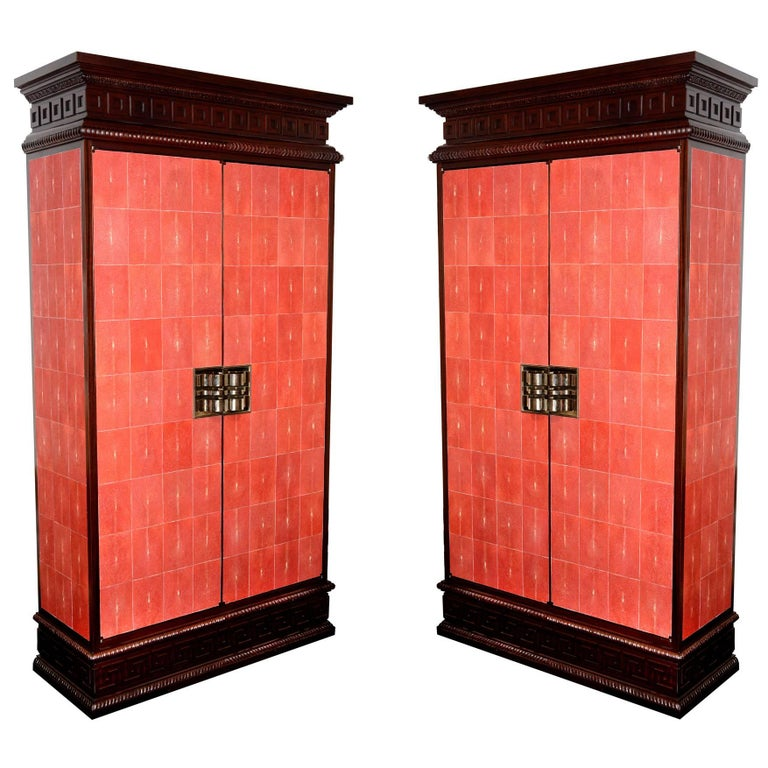 Cabinet Royal Set of Two in Solid Mahogany and Red Genuine Sharkskin For Sale