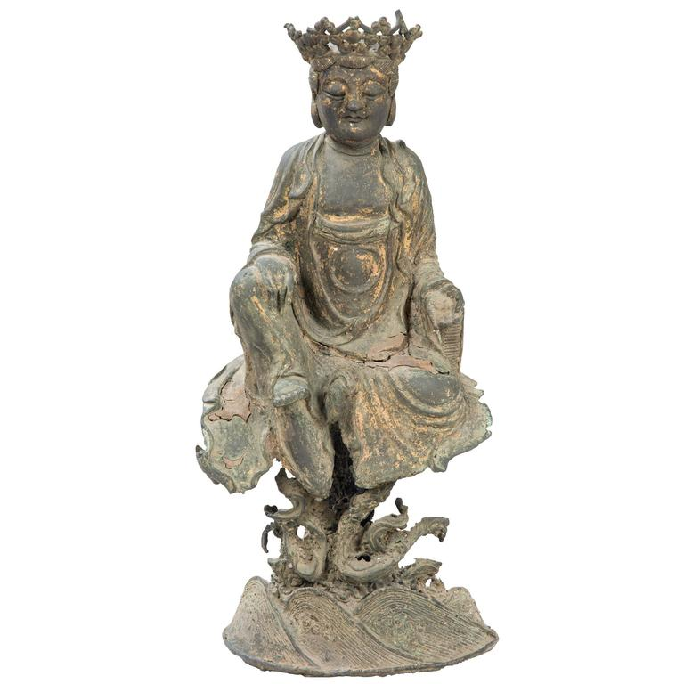 Chinese ming bronze sculpture of guanyin for sale at 1stdibs - Bronze sculptures for sale ...