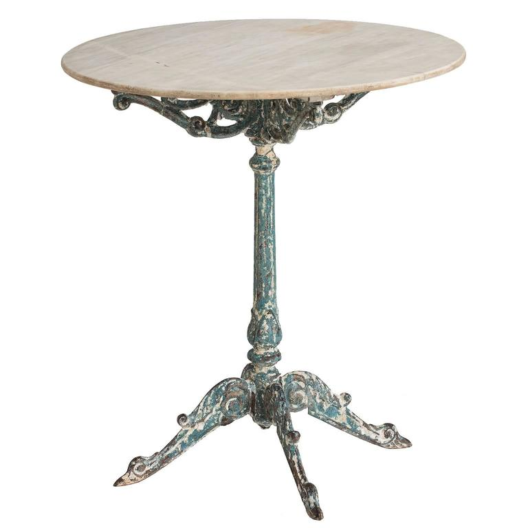 french garden table with marble top and cast iron base circa 1