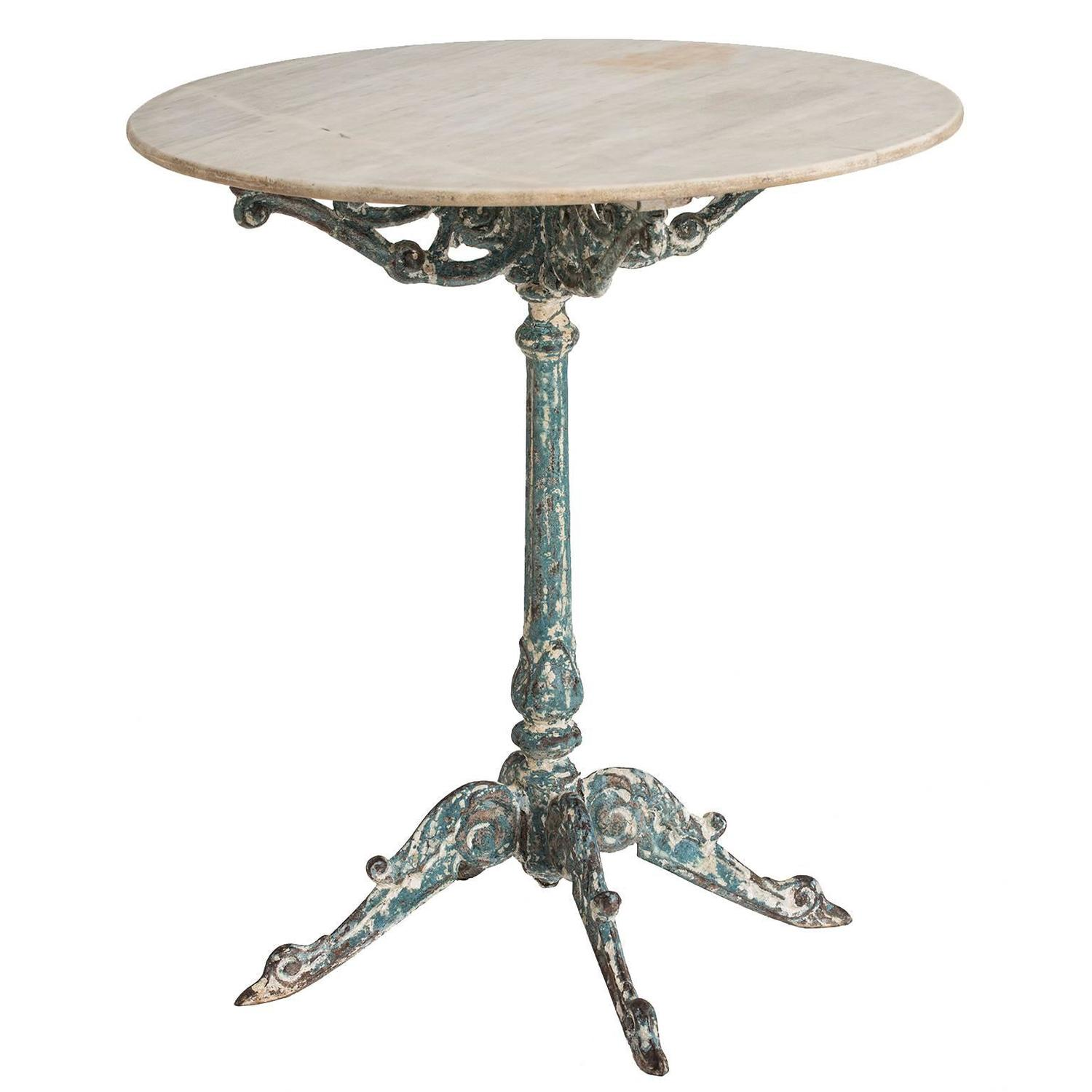 French Garden Table With Marble Top And Cast Iron Base, Circa 1890 At  1stdibs