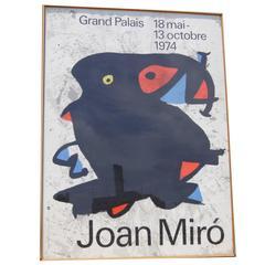 Large Framed Poster for Joan Miró Exhibition, 1974