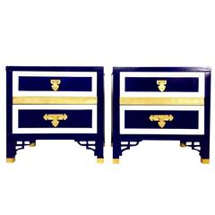 Pair of Hollywood Regency Fretwork 3-Tone Custom Lacquered Tables