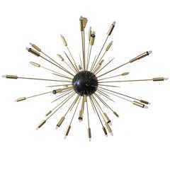 Italian Modern Oversized  Sputnik Brass Chandelier