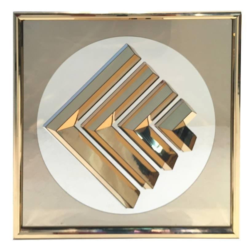 Decorative Wall Mirror Panels : Framed decorative mirror panel with brass foil frame for